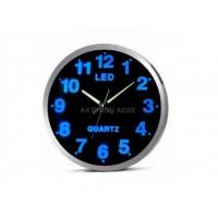 BLUE LED WALL CLOCK Home - Office - Car