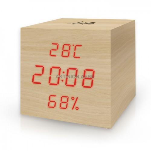 Ξύλινο ψηφιακό θερμόμετρο/υγρόμετρο, με ρολόι, ξυπνητήρι και ημερολόγιο LIFE WES-105