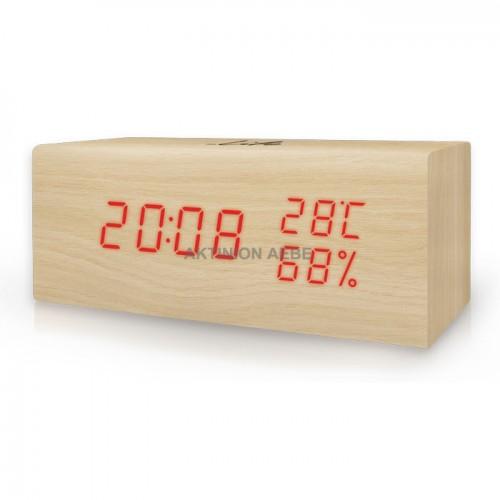 Ξύλινο ψηφιακό θερμόμετρο/υγρόμετρο, με ρολόι, ξυπνητήρι και ημερολόγιο LIFE WES-106