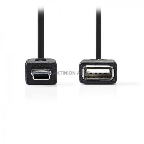 NEDIS CCGP60315BK02 Καλώδιο OTG USB 2.0 Mini 5 pin αρσ USB Α θηλ 0.2m