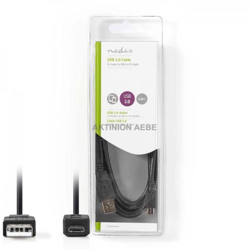 NEDIS CCGB60500BK20 Καλώδιο USB 2.0 A αρσ micro B αρσ 2m