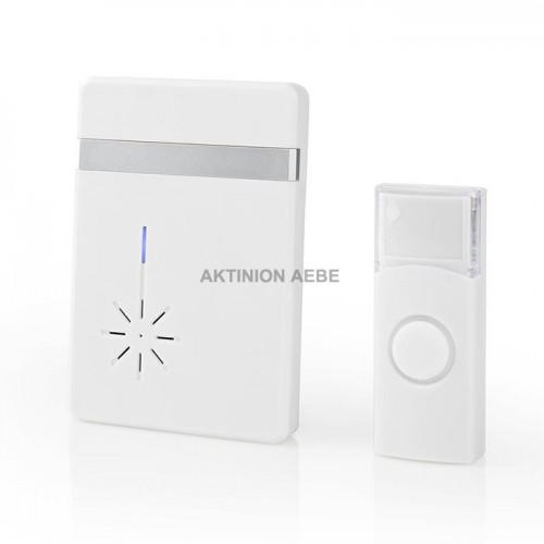 NEDIS DOORB212WT Ασύρματο φορητό κουδούνι με LED ένδειξη και δυνατότητα αυξομείωσης της έντασης ως 80dB