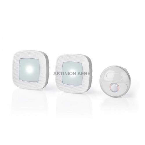 NEDIS DOORB220CWT2 Ασύρματο σετ κουδουνιού με 2 δέκτες και δυνατότητα flashing LED 80dB